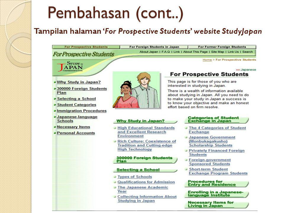 Tampilan halaman 'For Prospective Students' website StudyJapan Monday, 02 March 2014 Pembahasan (cont..)