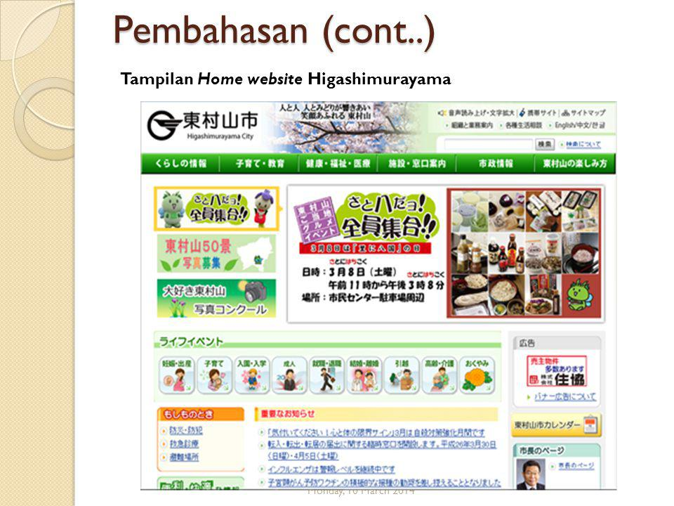 Pembahasan (cont..) Monday, 10 March 2014 Tampilan Home website Higashimurayama