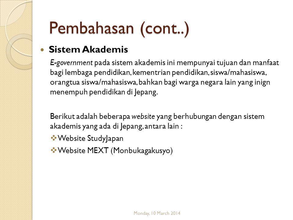 Pembahasan (cont..) Tampilan informasi mengenai Taxes (pajak) Monday, 10 March 2014