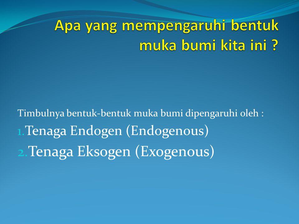 Timbulnya bentuk-bentuk muka bumi dipengaruhi oleh : 1. Tenaga Endogen (Endogenous) 2. Tenaga Eksogen (Exogenous)