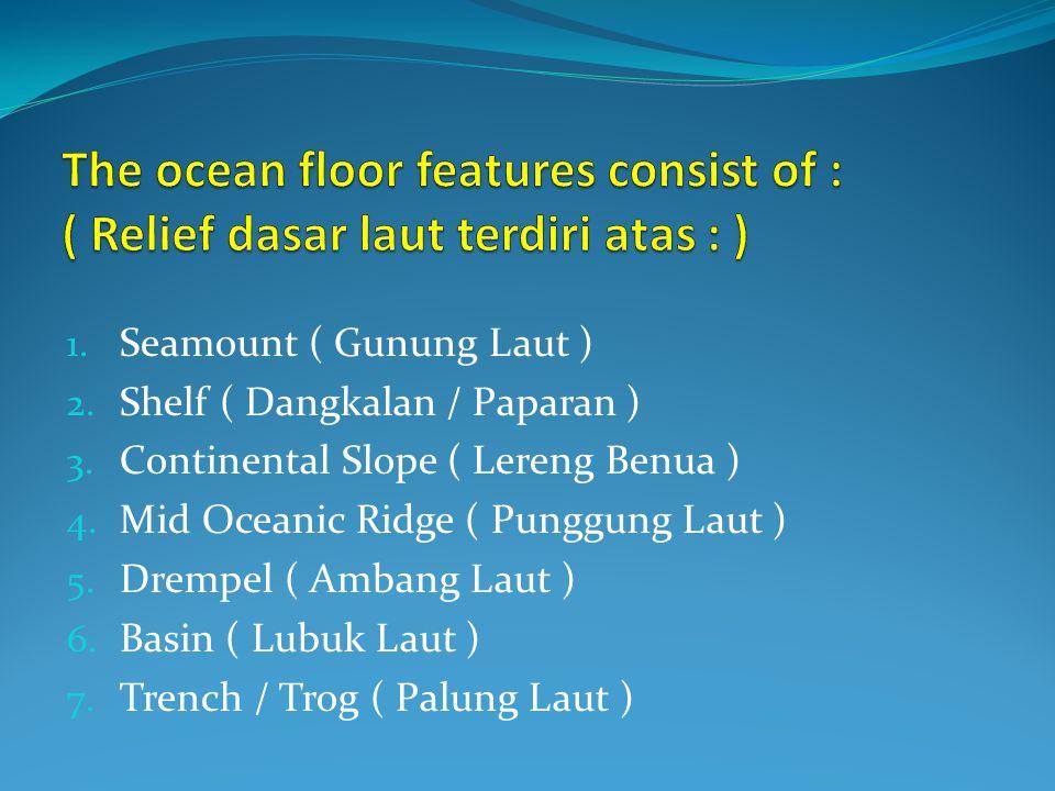 1. Seamount ( Gunung Laut ) 2. Shelf ( Dangkalan / Paparan ) 3. Continental Slope ( Lereng Benua ) 4. Mid Oceanic Ridge ( Punggung Laut ) 5. Drempel (