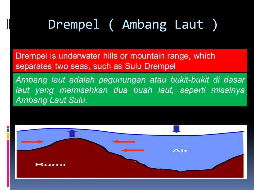 Drempel ( Ambang Laut ) Drempel is underwater hills or mountain range, which separates two seas, such as Sulu Drempel Ambang laut adalah pegunungan atau bukit-bukit di dasar laut yang memisahkan dua buah laut, seperti misalnya Ambang Laut Sulu.