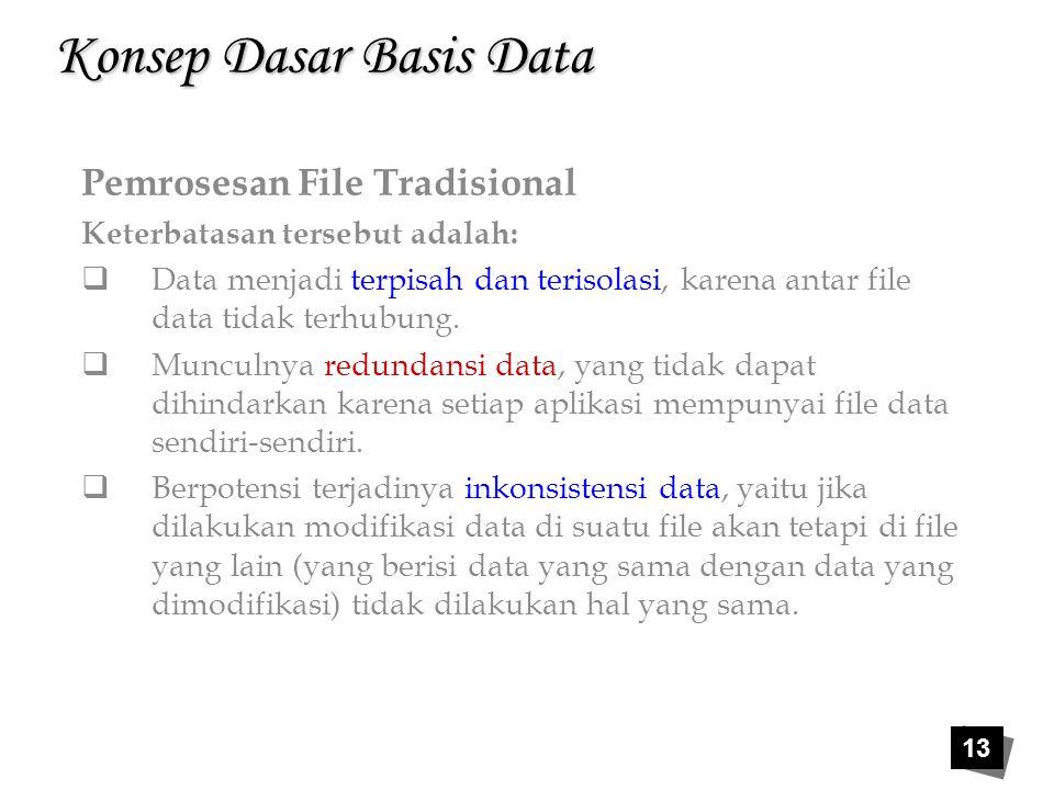 13 Konsep Dasar Basis Data Pemrosesan File Tradisional Keterbatasan tersebut adalah:  Data menjadi terpisah dan terisolasi, karena antar file data ti