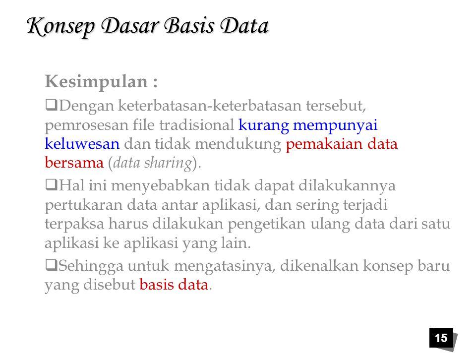 15 Konsep Dasar Basis Data Kesimpulan :  Dengan keterbatasan-keterbatasan tersebut, pemrosesan file tradisional kurang mempunyai keluwesan dan tidak
