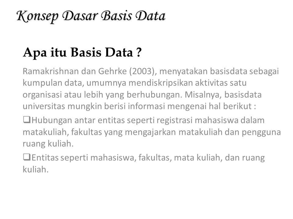 Konsep Dasar Basis Data Ramakrishnan dan Gehrke (2003), menyatakan basisdata sebagai kumpulan data, umumnya mendiskripsikan aktivitas satu organisasi
