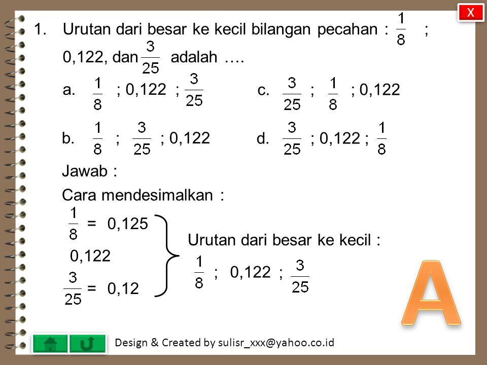 Design & Created by sulisr_xxx@yahoo.co.id 40.Diagram lingkaran berikut menunjukkan jenis pekerjaan 60 orang tua siswa.