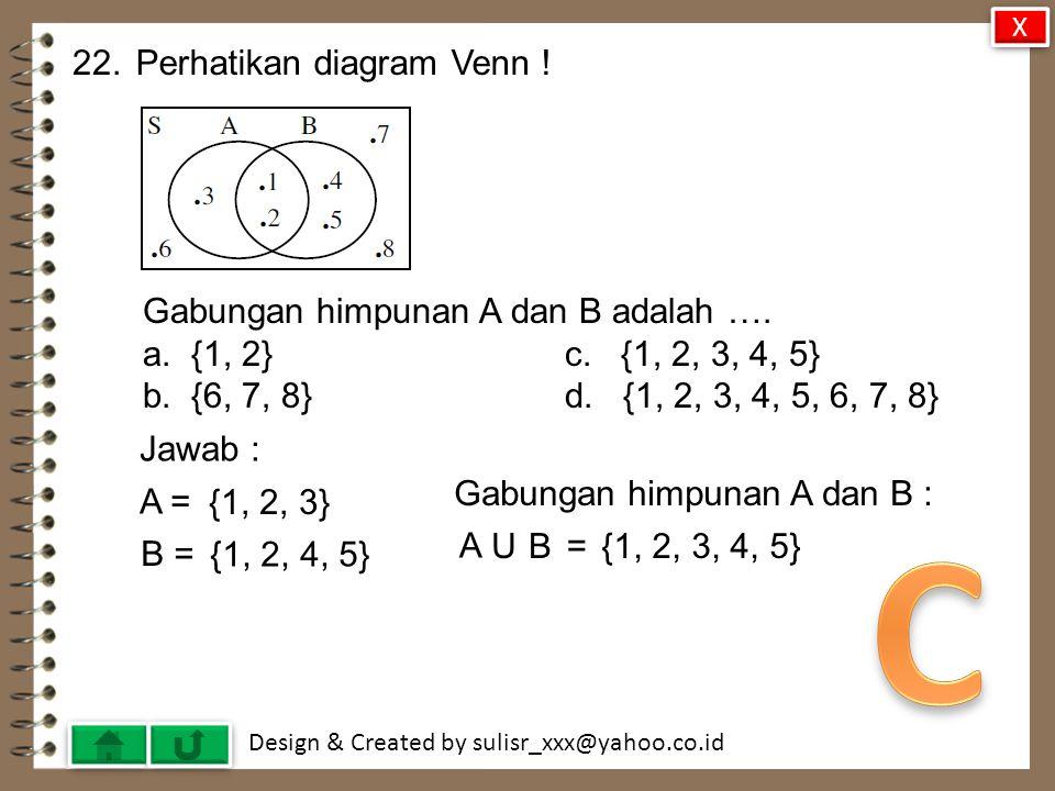 Design & Created by sulisr_xxx@yahoo.co.id 21.Penyelesaian 3(2a – 1) = 5(a + 2) adalah ….
