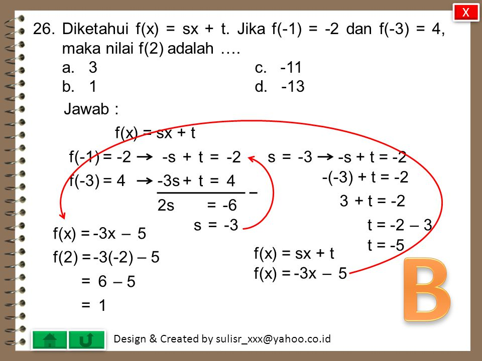 Design & Created by sulisr_xxx@yahoo.co.id 25.Diketahui himpunan P = {1, 4, 9, 16} dan Q = {1, 2, 3, 4, 5}.
