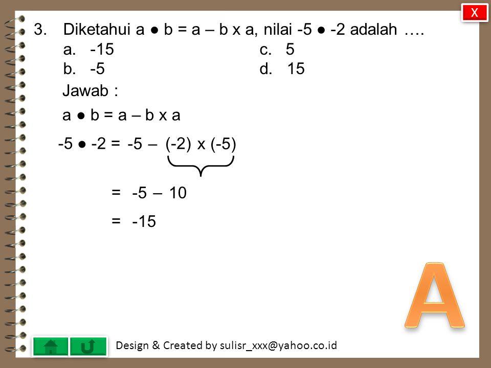 Design & Created by sulisr_xxx@yahoo.co.id 3.Diketahui a ● b = a – b x a, nilai -5 ● -2 adalah ….