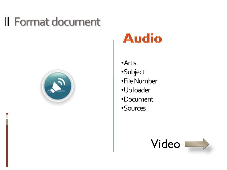 Format document • Artist • Subject • File Number • Up loader • Document • Sources Video