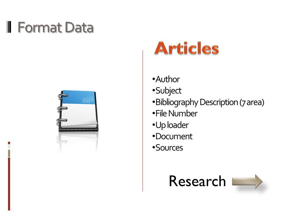 Format Data • Author • Subject • Bibliography Description (7 area) • File Number • Up loader • Document • Sources Skripsi