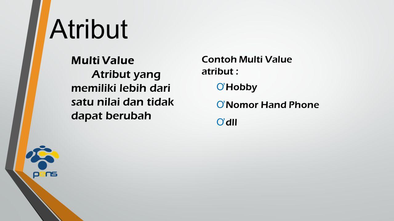 Atribut Multi Value Atribut yang memiliki lebih dari satu nilai dan tidak dapat berubah Contoh Multi Value atribut : Ơ Hobby Ơ Nomor Hand Phone Ơ dll