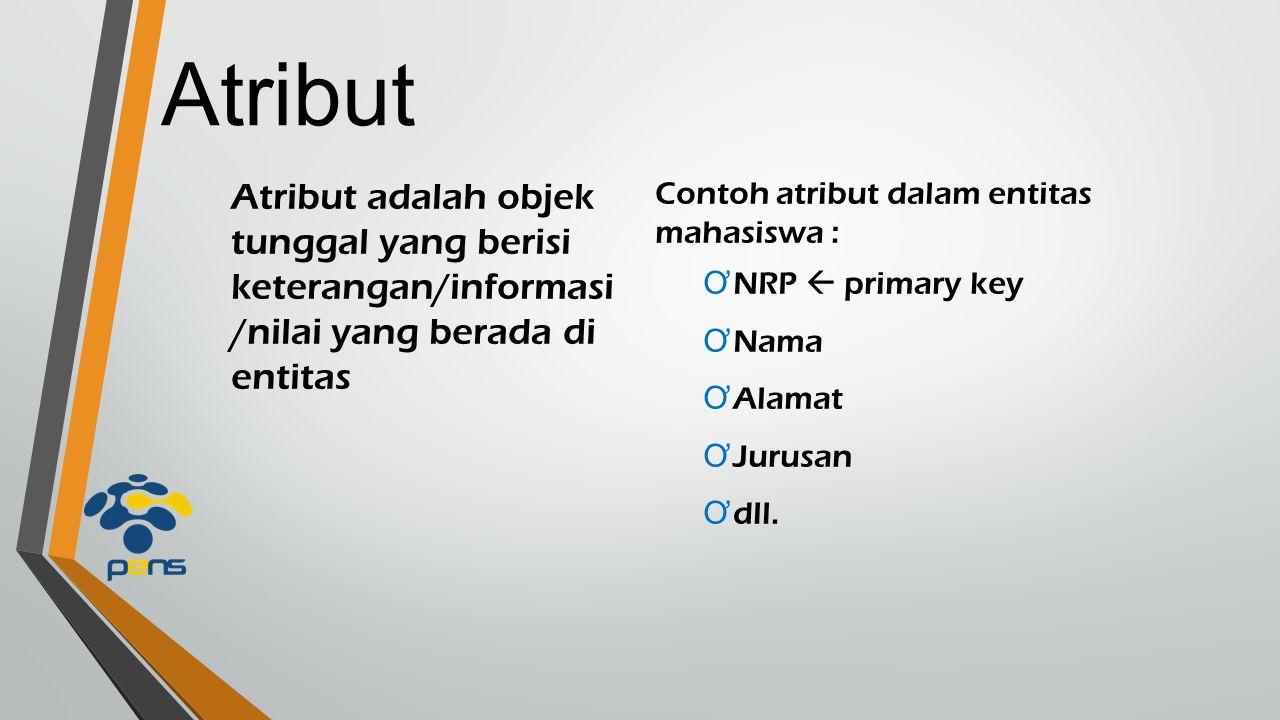 Atribut Atribut adalah objek tunggal yang berisi keterangan/informasi /nilai yang berada di entitas Contoh atribut dalam entitas mahasiswa : Ơ NRP  p
