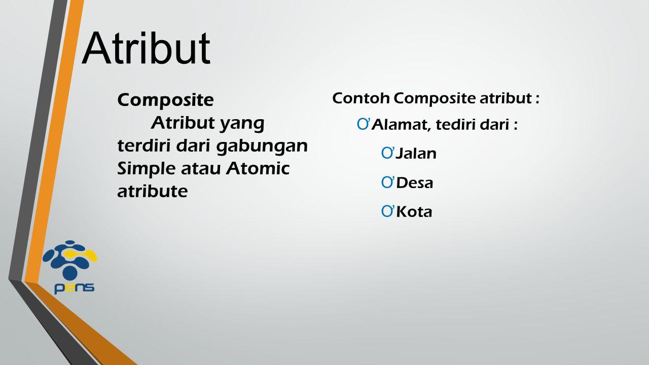 Atribut Composite Atribut yang terdiri dari gabungan Simple atau Atomic atribute Contoh Composite atribut : Ơ Alamat, tediri dari : Ơ Jalan Ơ Desa Ơ K