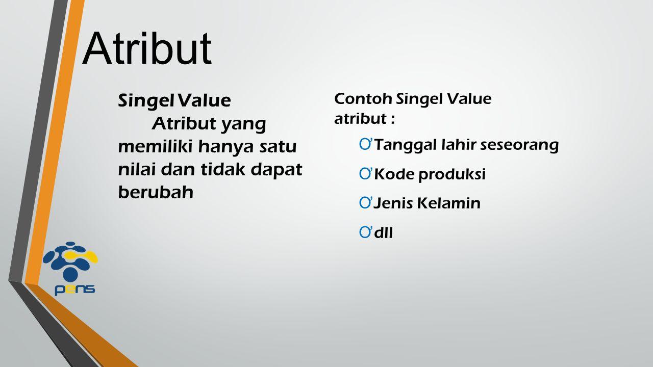 Atribut Singel Value Atribut yang memiliki hanya satu nilai dan tidak dapat berubah Contoh Singel Value atribut : Ơ Tanggal lahir seseorang Ơ Kode pro