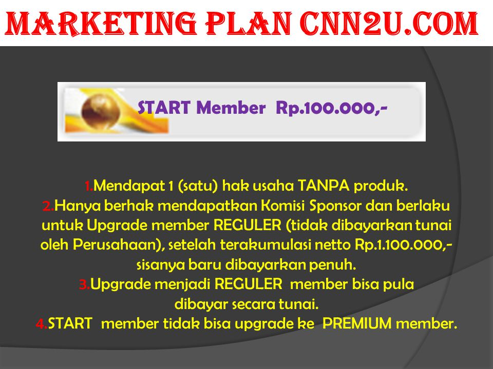 START Member Rp.100.000,- 1.Mendapat 1 (satu) hak usaha TANPA produk.