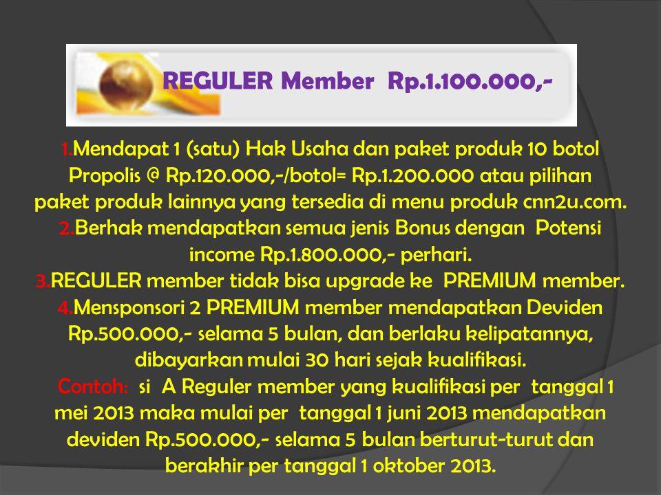 REGULER Member Rp.1.100.000,- 1.Mendapat 1 (satu) Hak Usaha dan paket produk 10 botol Propolis @ Rp.120.000,-/botol= Rp.1.200.000 atau pilihan paket produk lainnya yang tersedia di menu produk cnn2u.com.