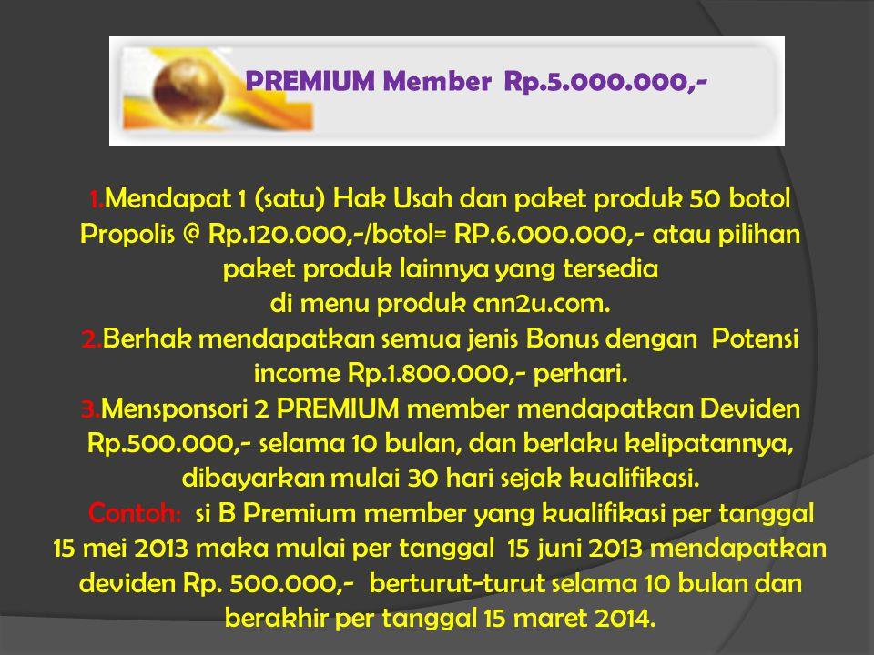 PREMIUM Member Rp.5.000.000,- 1.Mendapat 1 (satu) Hak Usah dan paket produk 50 botol Propolis @ Rp.120.000,-/botol= RP.6.000.000,- atau pilihan paket produk lainnya yang tersedia di menu produk cnn2u.com.