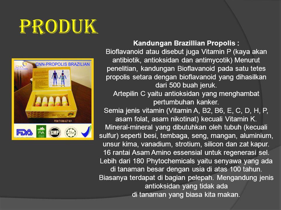 PRODUK Kandungan Brazillian Propolis : Bioflavanoid atau disebut juga Vitamin P (kaya akan antibiotik, antioksidan dan antimycotik) Menurut penelitian, kandungan Bioflavanoid pada satu tetes propolis setara dengan bioflavanoid yang dihasilkan dari 500 buah jeruk.