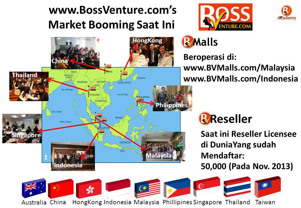 Indonesia Malaysia China Thailand Philippines HongKong Singapore Australia ChinaHongKongIndonesiaMalaysiaPhillipinesSingaporeThailandTaiwan www.BossVenture.com's Market Booming Saat Ini Saat ini Reseller Licensee di DuniaYang sudah Mendaftar: 50,000 (Pada Nov.