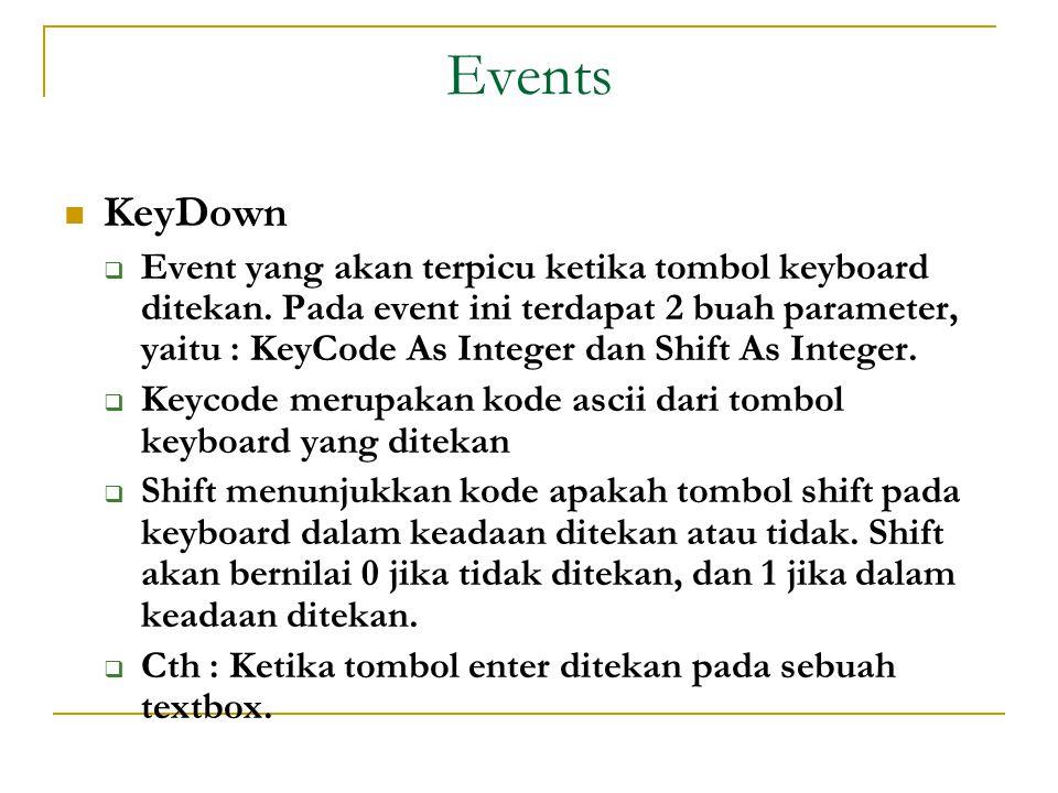 Events  KeyDown  Event yang akan terpicu ketika tombol keyboard ditekan.
