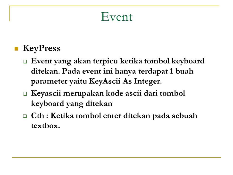 Event  KeyPress  Event yang akan terpicu ketika tombol keyboard ditekan.