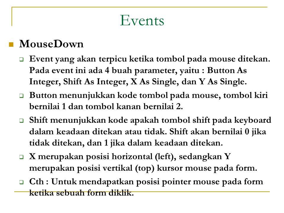 Events  MouseDown  Event yang akan terpicu ketika tombol pada mouse ditekan.