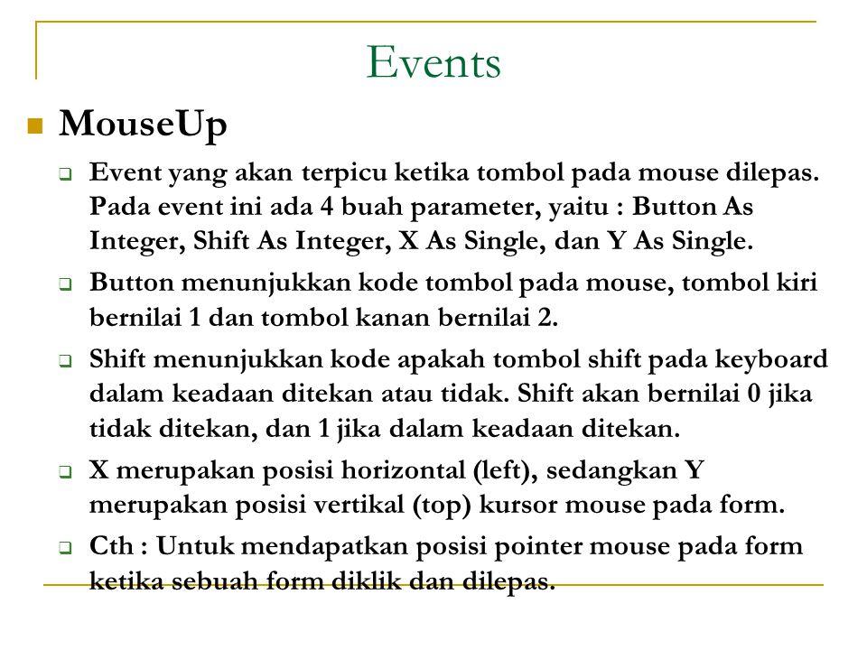 Events  MouseUp  Event yang akan terpicu ketika tombol pada mouse dilepas.