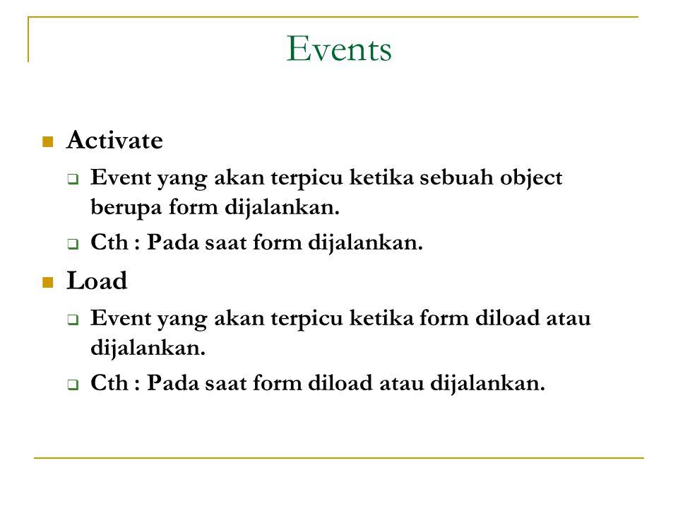Events  Activate  Event yang akan terpicu ketika sebuah object berupa form dijalankan.