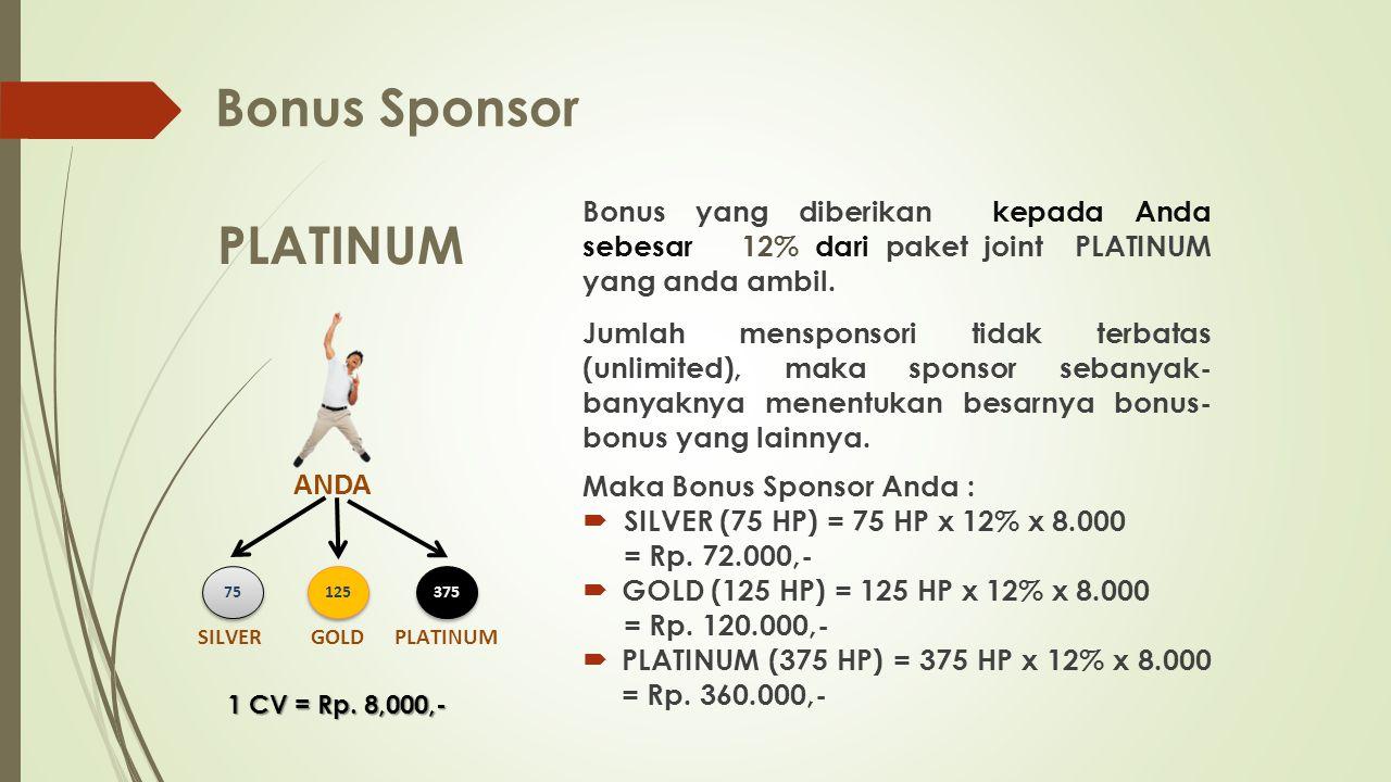 Bonus Sponsor Bonus yang diberikan kepada Anda sebesar 12% dari paket joint PLATINUM yang anda ambil.