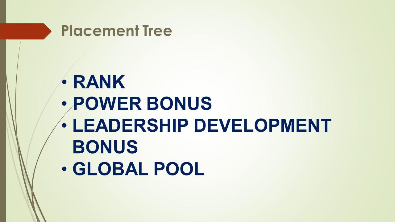 Placement Tree •RANK •POWER BONUS •LEADERSHIP DEVELOPMENT BONUS •GLOBAL POOL