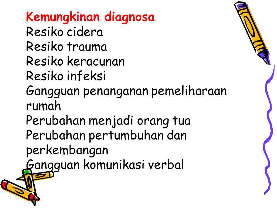 Kemungkinan diagnosa Resiko cidera Resiko trauma Resiko keracunan Resiko infeksi Gangguan penanganan pemeliharaan rumah Perubahan menjadi orang tua Pe