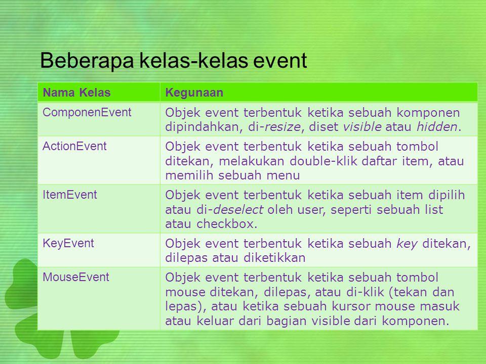 Beberapa kelas-kelas event Nama KelasKegunaan ComponenEvent Objek event terbentuk ketika sebuah komponen dipindahkan, di-resize, diset visible atau hidden.