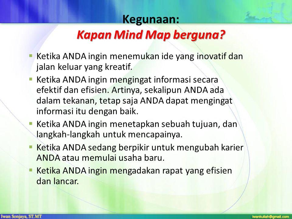 Kapan Mind Map berguna.Kegunaan: Kapan Mind Map berguna.