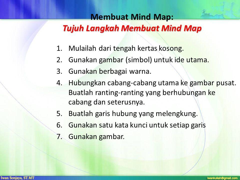 Tujuh Langkah Membuat Mind Map Membuat Mind Map: Tujuh Langkah Membuat Mind Map 1.Mulailah dari tengah kertas kosong.