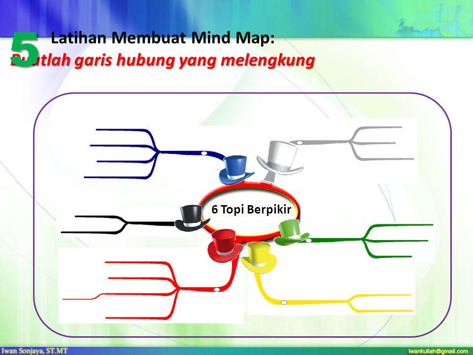 Buatlah garis hubung yang melengkung Latihan Membuat Mind Map: Buatlah garis hubung yang melengkung 6 Topi Berpikir 5