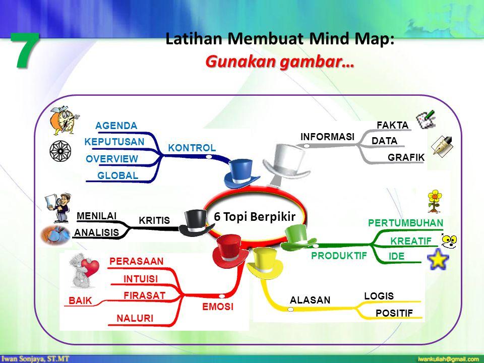 Gunakan gambar… Latihan Membuat Mind Map: Gunakan gambar… 6 Topi Berpikir 7 INFORMASI FAKTA DATA GRAFIK PRODUKTIF PERTUMBUHAN KREATIF IDE ALASAN LOGIS POSITIF EMOSI PERASAAN INTUISI NALURI FIRASAT BAIK KRITIS MENILAI ANALISIS OVERVIEW GLOBAL KONTROL AGENDA KEPUTUSAN