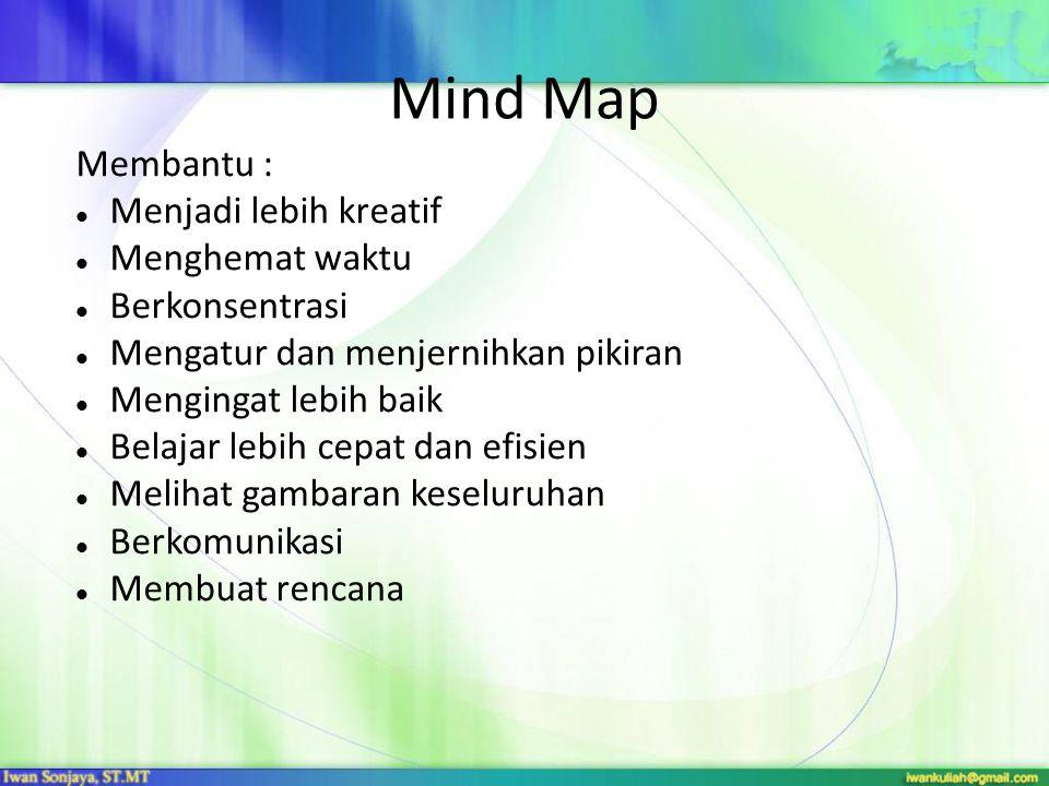 Mind Map Membantu :  Menjadi lebih kreatif  Menghemat waktu  Berkonsentrasi  Mengatur dan menjernihkan pikiran  Mengingat lebih baik  Belajar lebih cepat dan efisien  Melihat gambaran keseluruhan  Berkomunikasi  Membuat rencana
