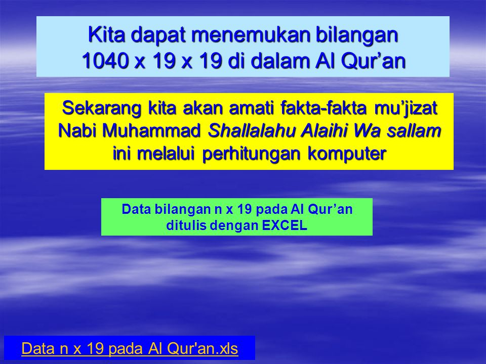 lanjutan 6.J ika kita jumlahkan nomor-nomor surah mulai dari surah At- Taubah sampai surah An-Naml, yaitu 9 + 10 + 11 + …+ 27 = 342 dimana 342 = 18 x