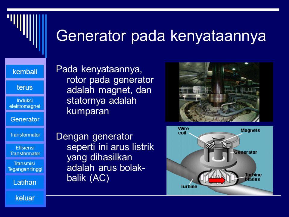 Generator pada kenyataannya Pada kenyataannya, rotor pada generator adalah magnet, dan statornya adalah kumparan Dengan generator seperti ini arus lis
