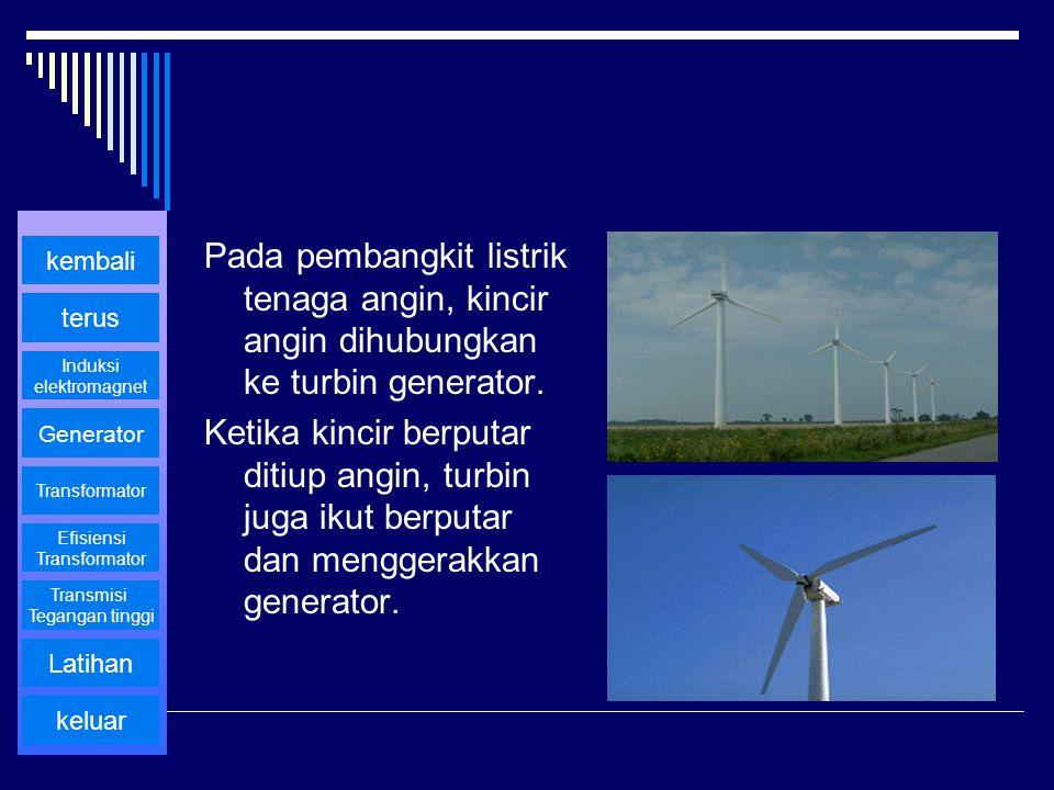 Pada pembangkit listrik tenaga angin, kincir angin dihubungkan ke turbin generator. Ketika kincir berputar ditiup angin, turbin juga ikut berputar dan