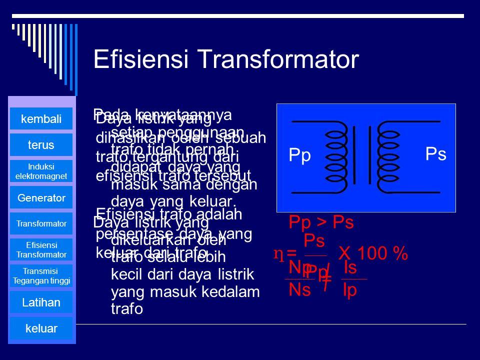 Efisiensi Transformator Pada kenyataannya setiap penggunaan trafo tidak pernah didapat daya yang masuk sama dengan daya yang keluar. Daya listrik yang