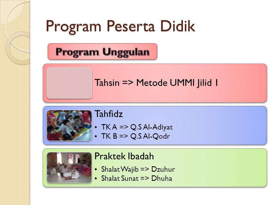 Program Peserta Didik Tahsin => Metode UMMI Jilid 1 Tahfidz •TK A => Q.S Al-Adiyat •TK B => Q.S Al-Qodr Praktek Ibadah •Shalat Wajib => Dzuhur •Shalat Sunat => Dhuha