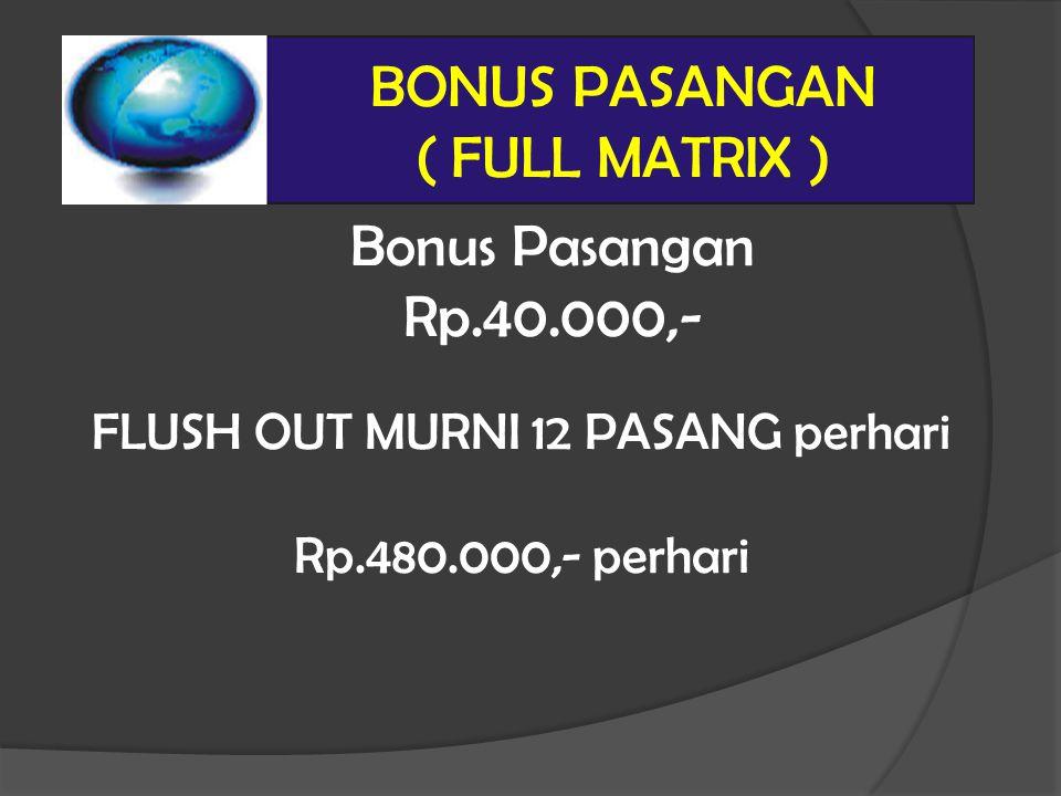 Bonus Pasangan Rp.40.000,- BONUS PASANGAN ( FULL MATRIX ) FLUSH OUT MURNI 12 PASANG perhari Rp.480.000,- perhari