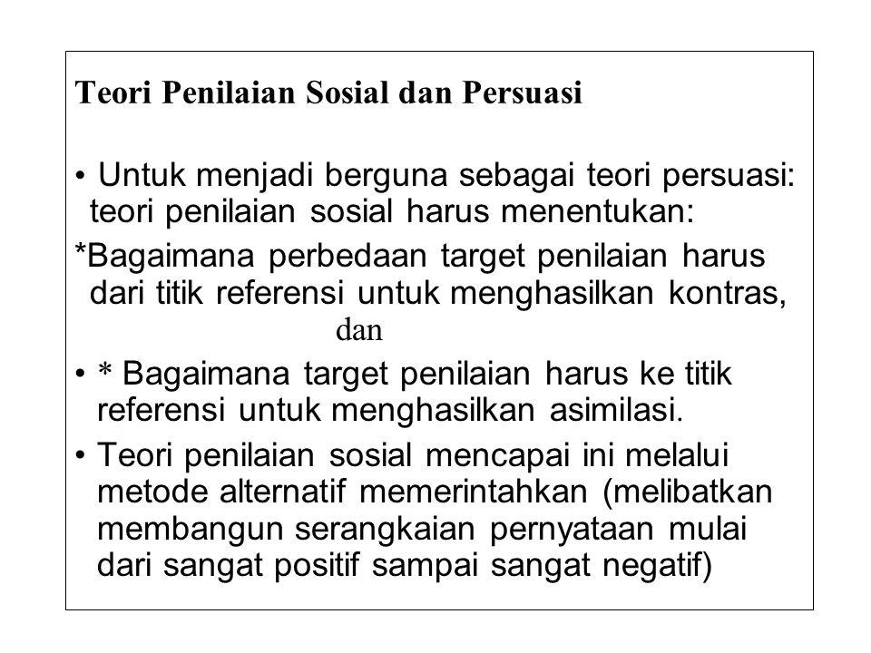 Teori Penilaian Sosial dan Persuasi • Untuk menjadi berguna sebagai teori persuasi: teori penilaian sosial harus menentukan: *Bagaimana perbedaan targ