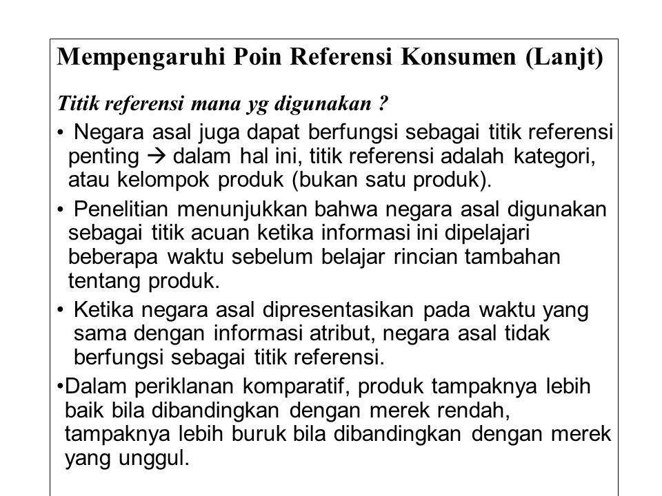 Mempengaruhi Poin Referensi Konsumen (Lanjt) Titik referensi mana yg digunakan ? • Negara asal juga dapat berfungsi sebagai titik referensi penting 