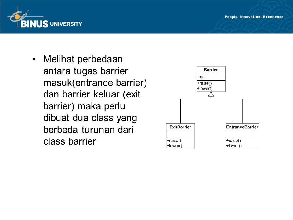 •Melihat perbedaan antara tugas barrier masuk(entrance barrier) dan barrier keluar (exit barrier) maka perlu dibuat dua class yang berbeda turunan dar