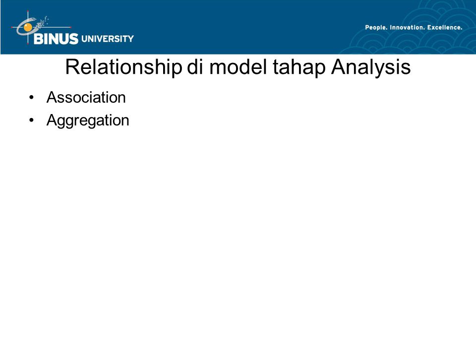 Relationship di model tahap Analysis •Association •Aggregation