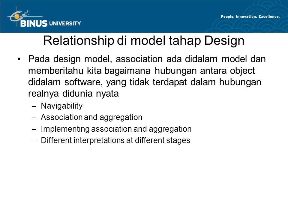 Relationship di model tahap Design •Pada design model, association ada didalam model dan memberitahu kita bagaimana hubungan antara object didalam sof