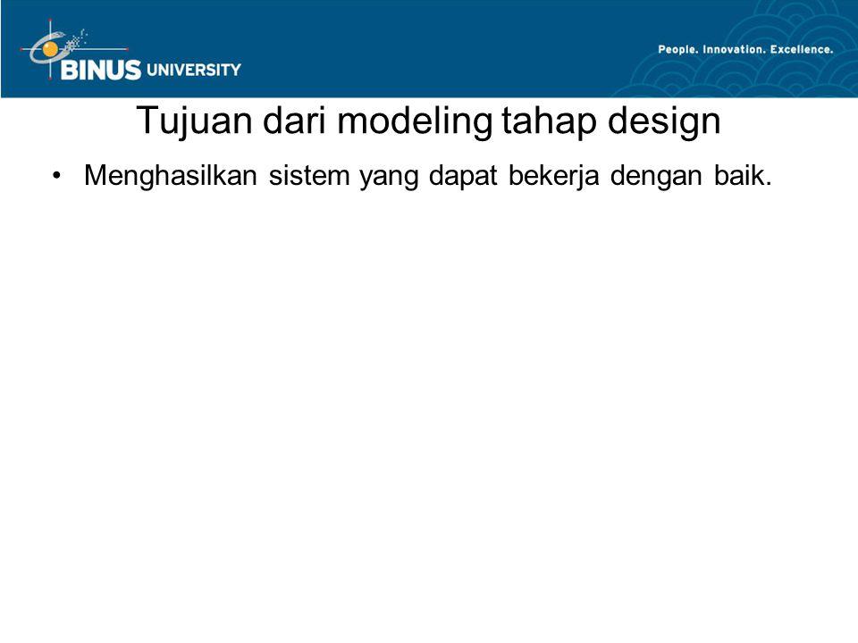Tujuan dari modeling tahap design •Menghasilkan sistem yang dapat bekerja dengan baik.